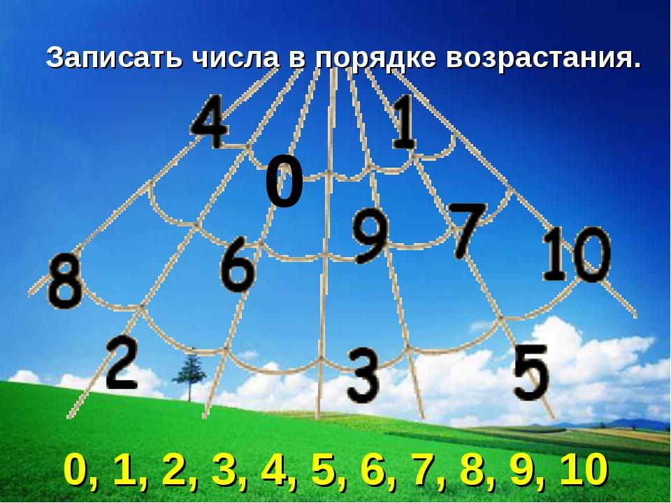 0 Записать числа в порядке возрастания. 0, 1, 2, 3, 4, 5, 6, 7, 8, 9, 10