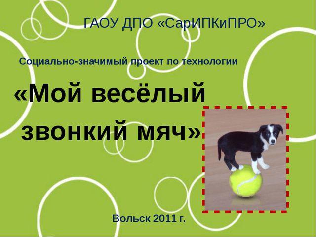 ГАОУ ДПО «СарИПКиПРО» «Мой весёлый звонкий мяч» Социально-значимый проект по...