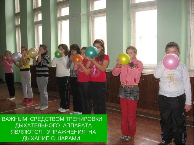 Важным средством тренировки дыхательного аппарата являются упражнения на дыха...