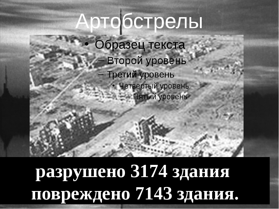 Артобстрелы разрушено 3174 здания повреждено 7143 здания.