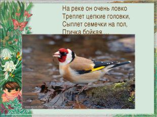 На реке он очень ловко Треплет цепкие головки, Сыплет семечки на пол, Птичка