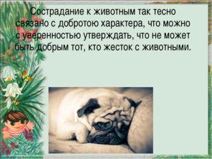 Сострадание к животным так тесно связано с добротою характера, что можно с ув