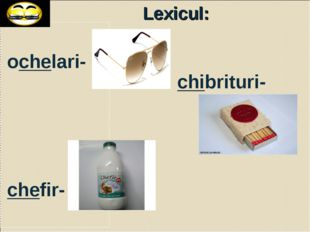 Lexicul: ochelari- chefir- chibrituri-