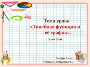 Тема урока «Линейная функция и её график». Урок 2-ой. Алгебра 7 класс Учител