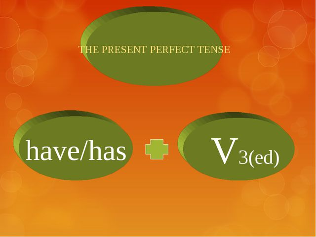 THE PRESENT PERFECT TENSE have/has V3(ed)