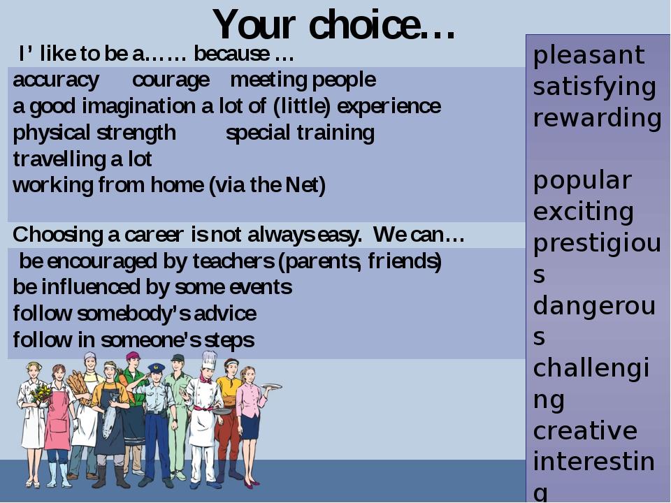 Your choice… pleasant satisfying rewarding popular exciting prestigious dange...