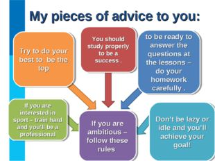 My pieces of advice to you: If you are ambitious – follow these rules Try to