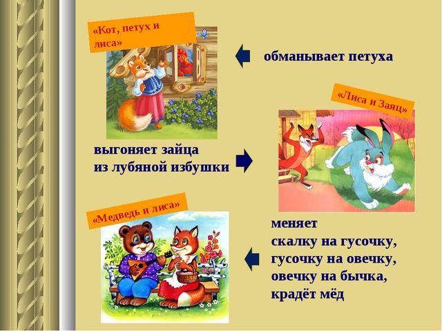 «Лиса и Заяц» «Кот, петух и лиса» обманывает петуха выгоняет зайца из лубяной...