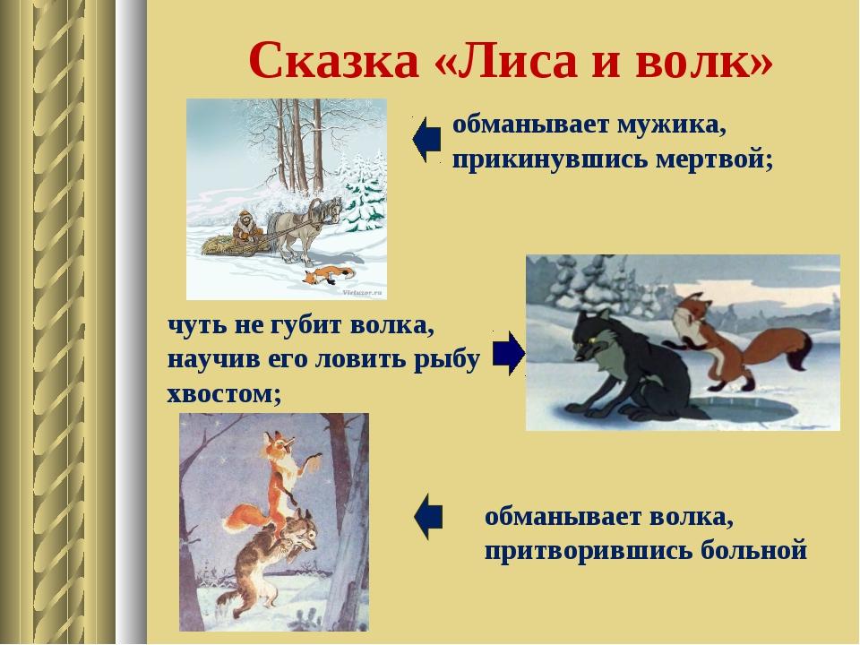 Сказка «Лиса и волк» обманывает волка, притворившись больной обманывает мужик...