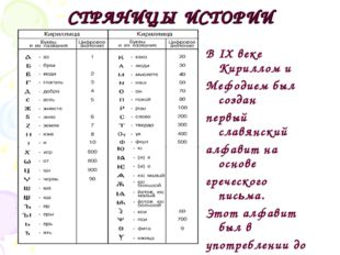 СТРАНИЦЫ ИСТОРИИ В IX веке Кириллом и Мефодием был создан первый славянский а