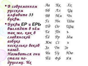 В современном русском алфавите 33 буквы. Буквы ЕР и ЕРЬ выглядят в нём так же