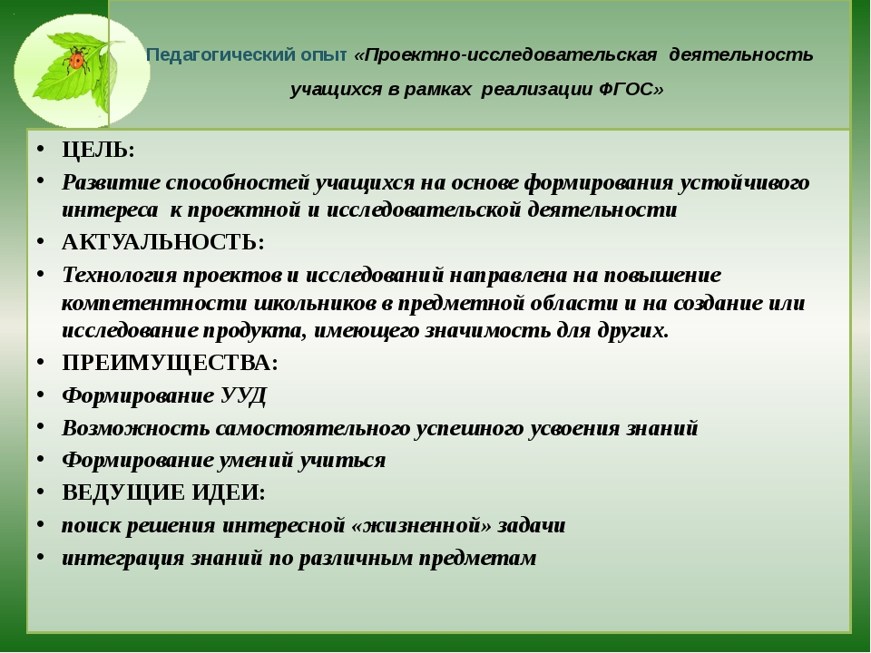 Педагогический опыт «Проектно-исследовательская деятельность учащихся в рамк...