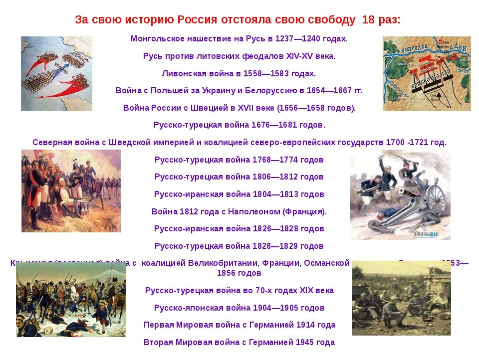 За свою историю Россия отстояла свою свободу 18 раз: Монгольское нашествие н...