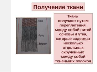 Нити основы и утка Нити, переплетаясь между собой, образуют полотно (ткань) Н