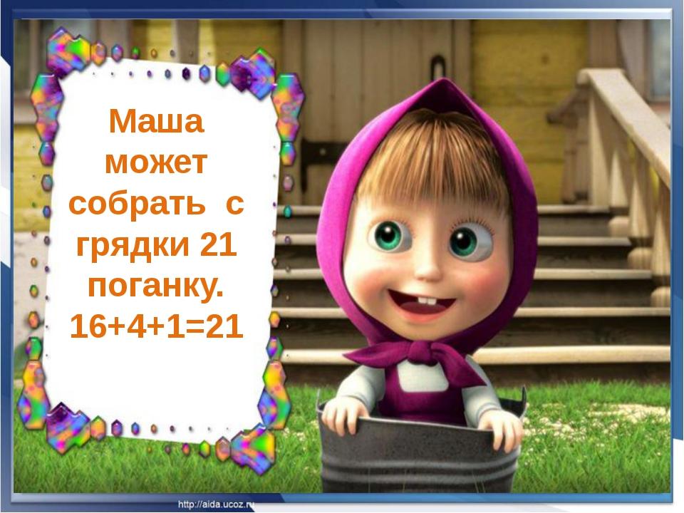 Маша может собрать с грядки 21 поганку. 16+4+1=21