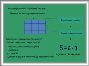 Это прямоугольник со сторонами 6 см и 4 см. Разделим его на квадратные сантим