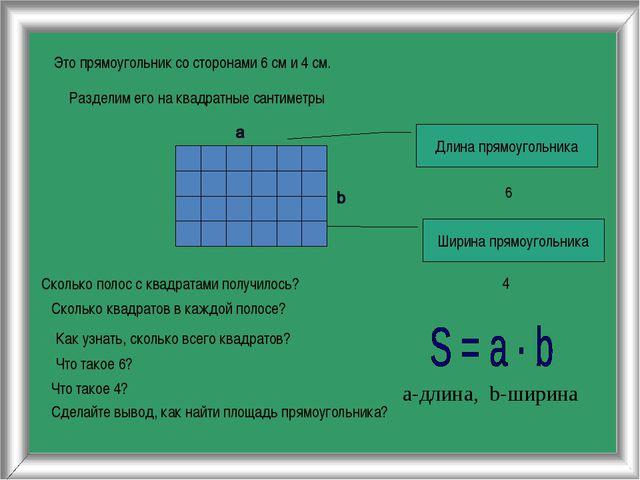 Это прямоугольник со сторонами 6 см и 4 см. Разделим его на квадратные сантим...