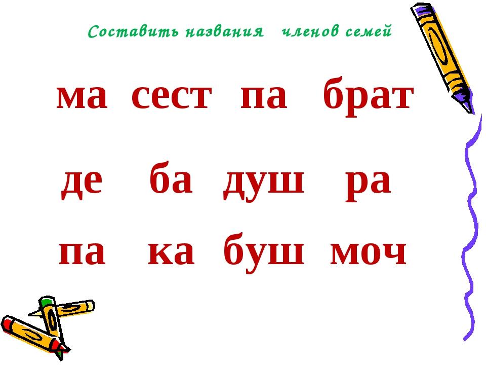 Составить названия членов семей масестпабрат дебадушра пакабушмоч