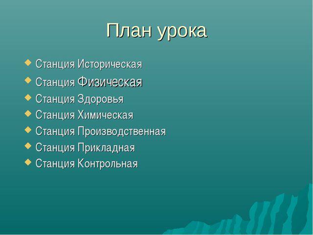 План урока Станция Историческая Станция Физическая Станция Здоровья Станция Х...