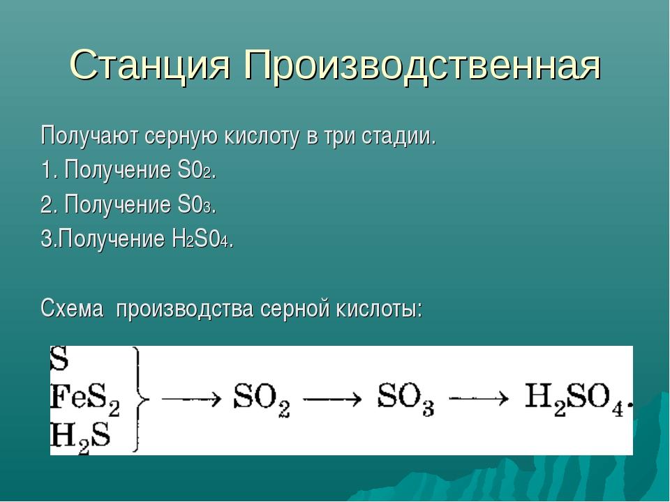 Станция Производственная Получают серную кислоту в три стадии. 1. Получение S...