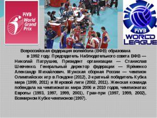 Всероссийская федерация волейбола (ВФВ) образована в 1992 году. Председатель