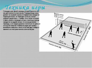 Техника игры Площадка для одной команды условно делится на 6 зон деятельности