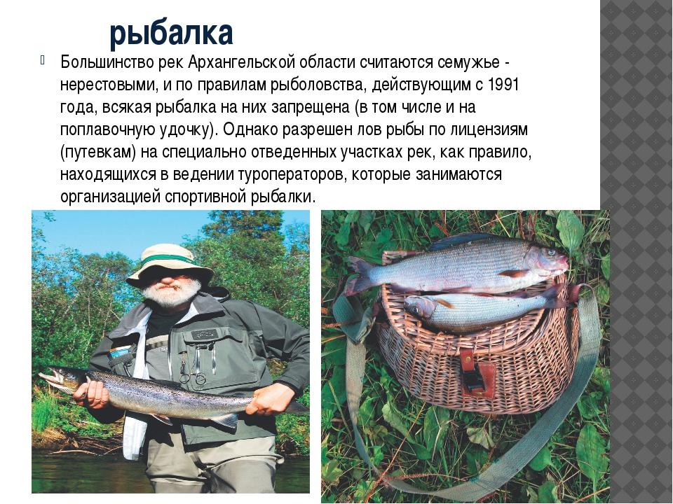 рыбалка Большинство рек Архангельской области считаются семужье - нерестовым...