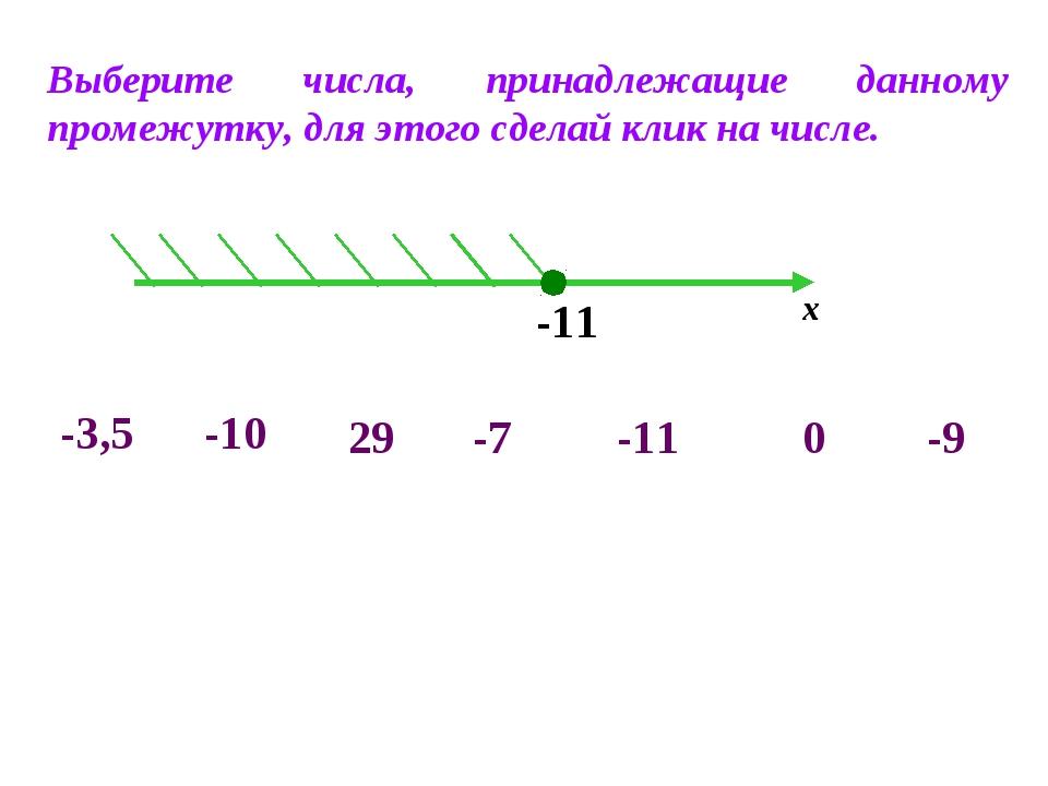 -11 х -10 -3,5 -7 0 -9 29 -11 Выберите числа, принадлежащие данному промежутк...