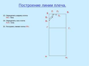 Построение линии плеча. В В1 Н Н1 Г Г1 В2 П В3 13. Определить ширину плеча ПП
