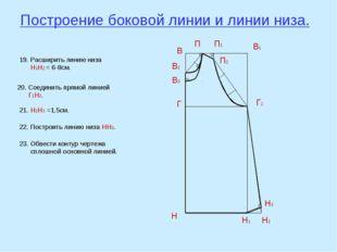 Построение боковой линии и линии низа. В В1 Н Н1 Г Г1 В2 П В3 П1 П2 19. Расши