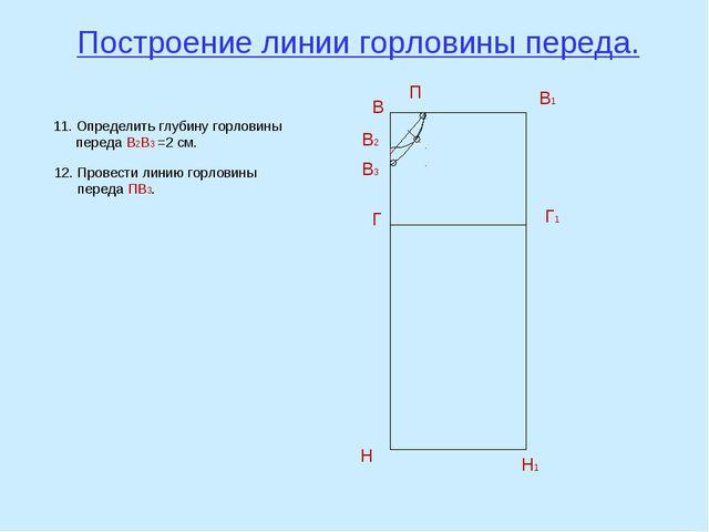 Построение линии горловины переда. В В1 Н Н1 Г Г1 В2 П 11. Определить глубину...
