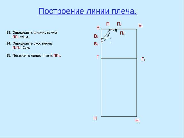 Построение линии плеча. В В1 Н Н1 Г Г1 В2 П В3 13. Определить ширину плеча ПП...