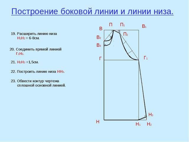 Построение боковой линии и линии низа. В В1 Н Н1 Г Г1 В2 П В3 П1 П2 19. Расши...