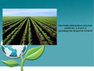 Без почвы невозможно сельское хозяйство, а значит и производство продуктов пи