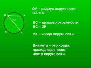 О А ОА – радиус окружности ОА = R В С ВС – диаметр окружности ВC = 2R К ВК –