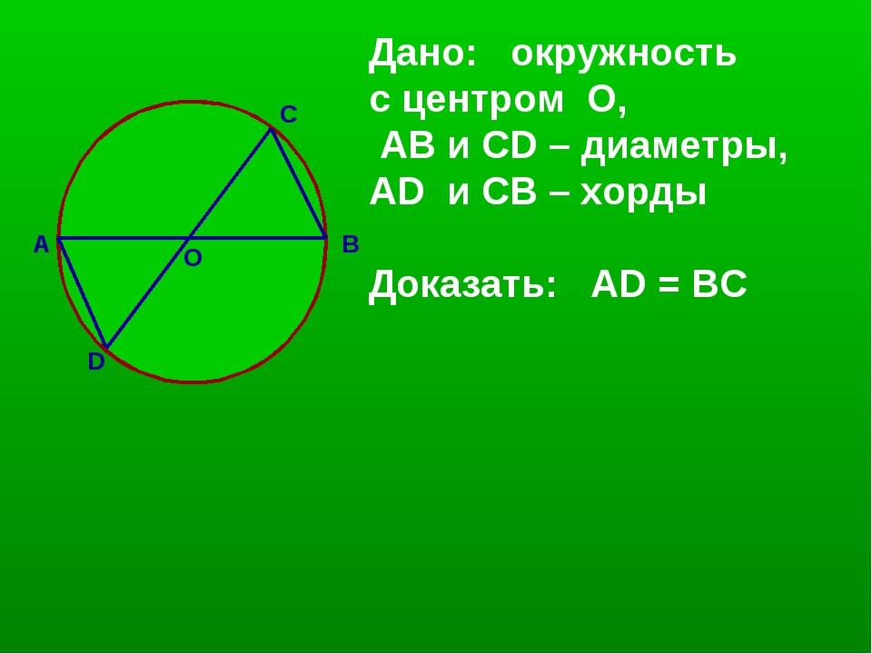А D C В О Дано: окружность с центром О, АВ и CD – диаметры, AD и СВ – хорды Д...