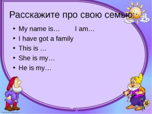 My name is…        I am… My name is…        I am… I have got a family This