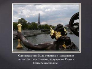 Одновременно была открыта и названная в честь Николая II авеню, ведущая от Се