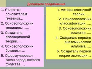 Дополните предложения 1. Является основателем генетики… 2. Основоположник мед