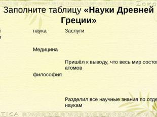 Заполните таблицу «Науки Древней Греции» Учёный наука Заслуги Герадот
