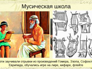 Мусическая школа Дети заучивали отрывки из произведений Гомера, Эзопа, Софокл