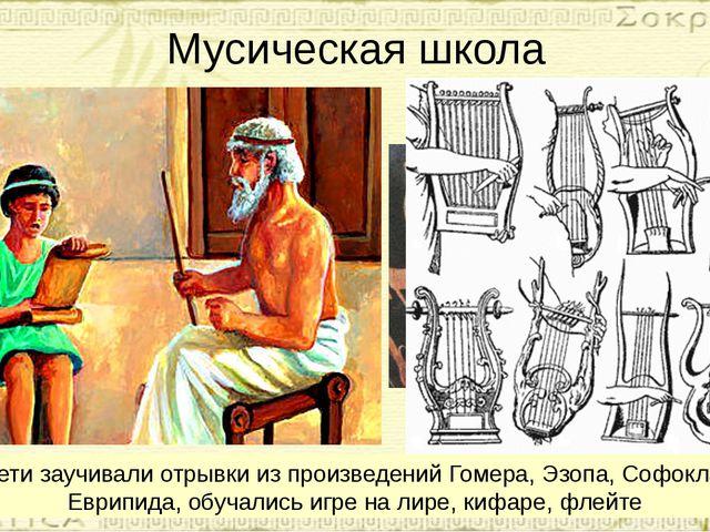 Мусическая школа Дети заучивали отрывки из произведений Гомера, Эзопа, Софокл...