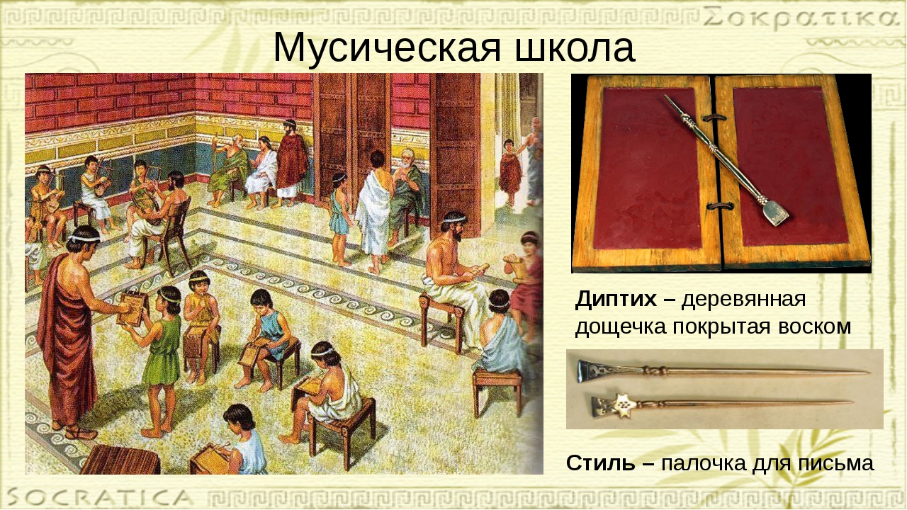 Мусическая школа Диптих – деревянная дощечка покрытая воском Стиль – палочка...