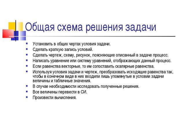 Общая схема решения задачи Установить в общих чертах условия задачи. Сделать...