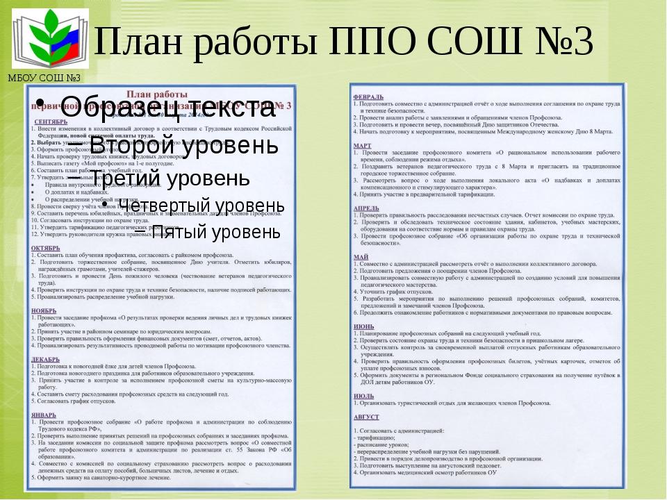 План работы ППО СОШ №3 МБОУ СОШ №3