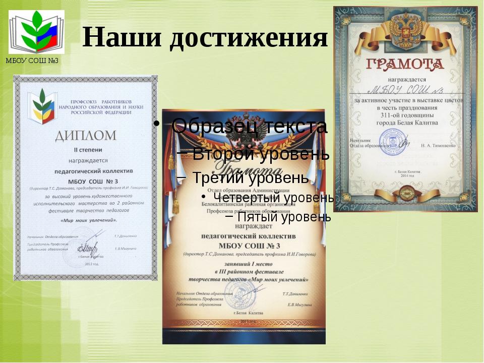 Наши достижения МБОУ СОШ №3