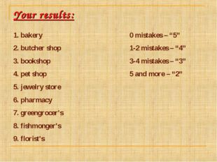 Your results: 1. bakery 2. butcher shop 3. bookshop 4. pet shop 5. jewelry st