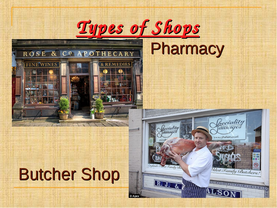 Types of Shops Pharmacy Butcher Shop