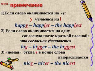 Если слово оканчивается на -y: y меняется на i happy – happier – the happiest
