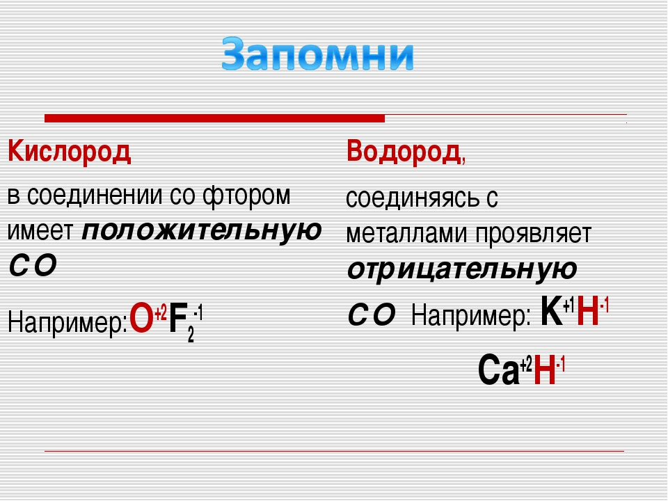 Кислород в соединении со фтором имеет положительную СО Например:O+2F2-1 Водор...